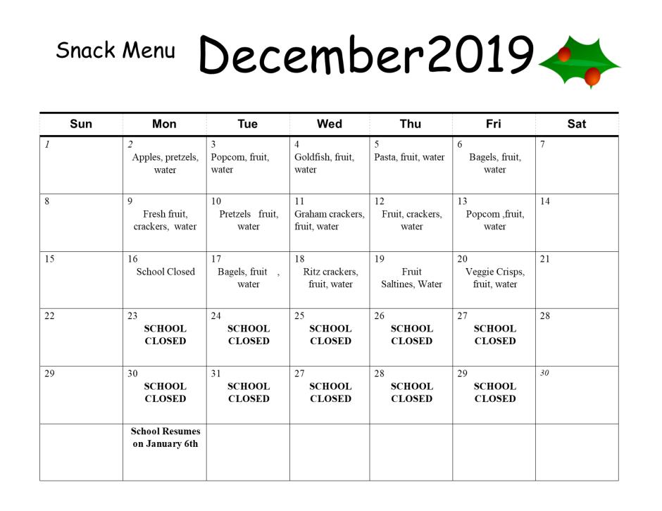december snak menu 2019