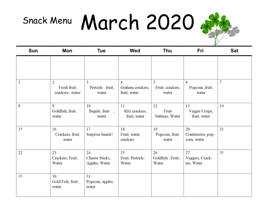 march snack menu2020